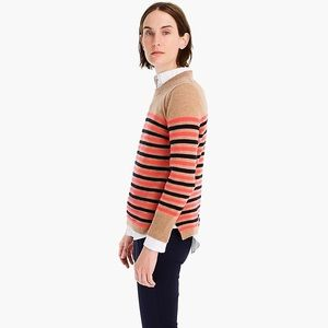 NWT J.CREW CASHMERE TEXTURE STRIPE SWEATER